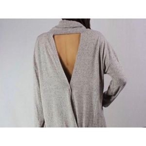 Daytrip Grey Open-Backed Cowl NeckSweater—SO Soft!